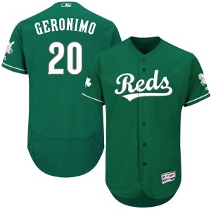Youth Majestic Cesar Geronimo Cincinnati Reds Authentic Green Flex Base Celtic Collection Jersey